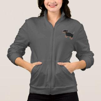 Black & Brown Dachshund Women's Fleece Zip Jogger