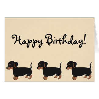Black Brown Dachshunds Creme Happy Birthday Card