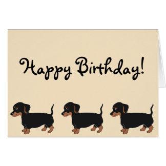 Black Brown Dachshunds Creme Happy Birthday Card