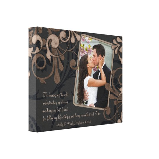 Black Brown Floral Wedding Photo Template Canvas
