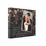Black Brown Floral Wedding Photo Template Canvas Stretched Canvas Print