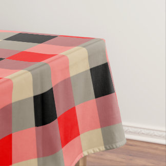 Black ,brown red gingham pattern table cloth tablecloth