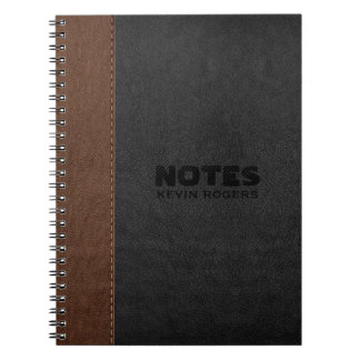 Black & Brown Stitched Leather Texture Notebooks
