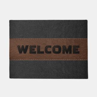 Black & Brown Vintage Leather Geometric Design Doormat