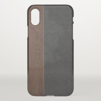 Black & Brown Vintage Leather iPhone X Case
