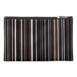 Black, Brown, White Barcode Stripe Travel Accessory Bags