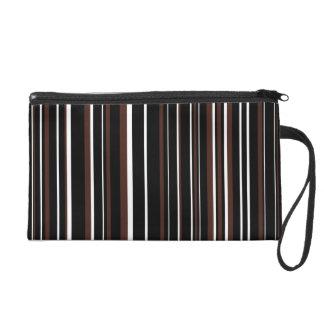 Black, Brown, White Barcode Stripe Wristlet Purse