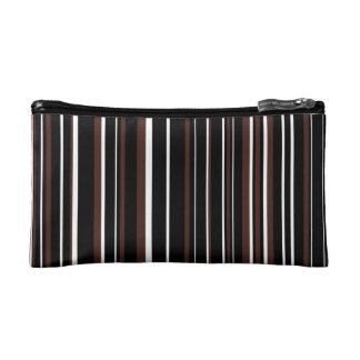 Black, Brown, White Barcode Stripe Makeup Bags