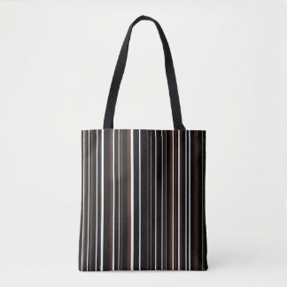 Black, Brown, White Barcode Stripe Tote Bag