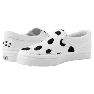 Black brush dots with white background Slip-On shoes