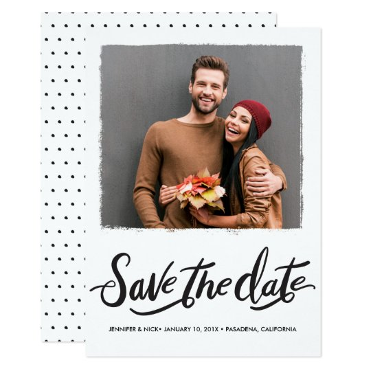 Black Brush Script Wedding Save The Date Card