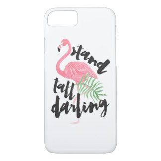 Black brush typography stand tall pink flamingo iPhone 8/7 case