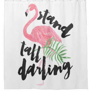 Black brush typography stand tall pink flamingo shower curtain