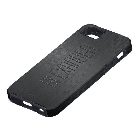 Black Brushed Aluminium Metal Look-Monogram Tough iPhone 5 Case