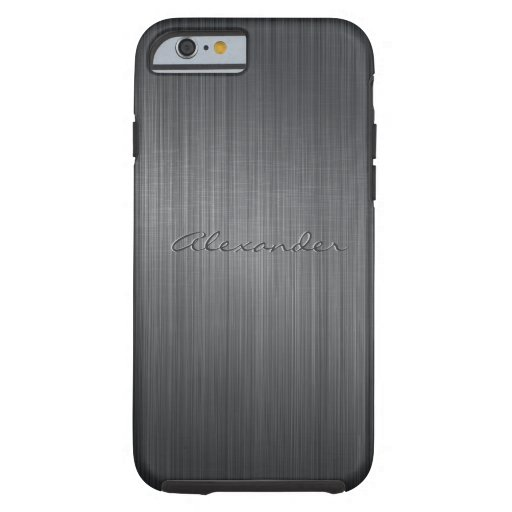 Black Brushed Aluminum Metal Look-Monogram iPhone 6 Case