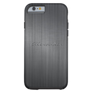 Black Brushed Aluminum Metal Look-Monogram Tough iPhone 6 Case