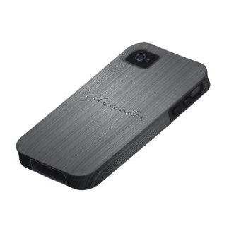 Black Brushed Aluminum Metal Pattern-Custom Text Case For The iPhone 4