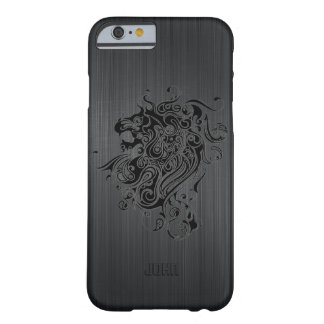 Black Brushed Faux Aluminum Look With  Lion Head Barely There iPhone 6 Case