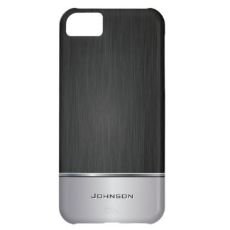 Black Brushed Metal Look with Silver Bar | iPhone 5C Case