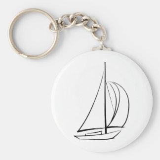 Black Brushstroke Sailboat Key Ring