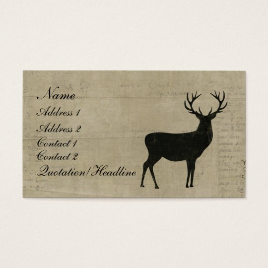 Black Buck Silhouette Business Card/Tags Business Card