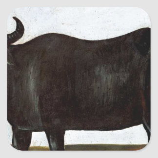 Black buffalo on a white background (part of dipty square sticker