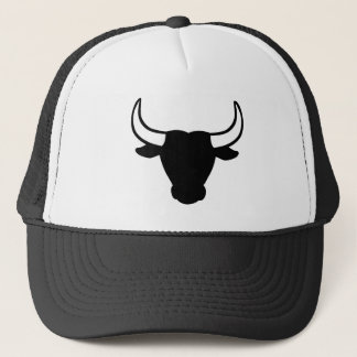 Black bull head trucker hat