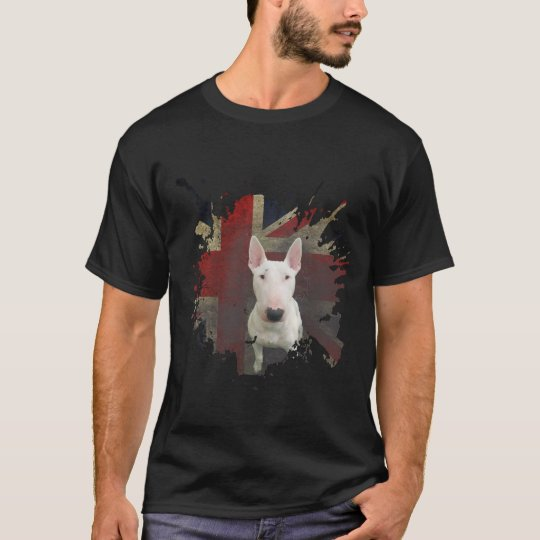 Black Bull Terrier Union Jack Basic t-shirt
