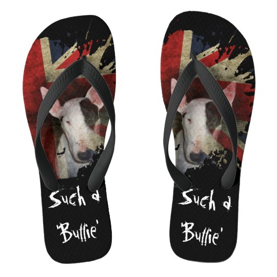 Black Bull Terrier Union Jack Flip Flops