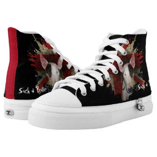 Black Bull Terrier & Union Jack High Top Sneakers