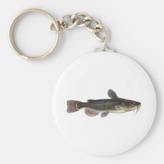 Black Bullhead Catfish Art Basic Round Button Key Ring