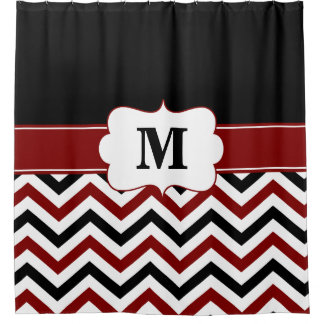 Black Burgundy chevron Monogram Shower Curtain
