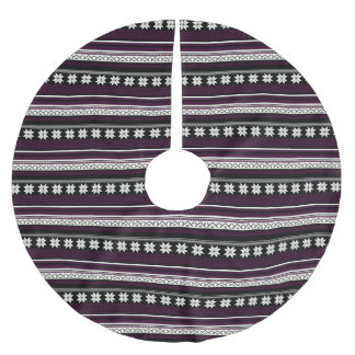 Black & Burgundy Nordic Knit Snowflake Graphic Brushed Polyester Tree Skirt