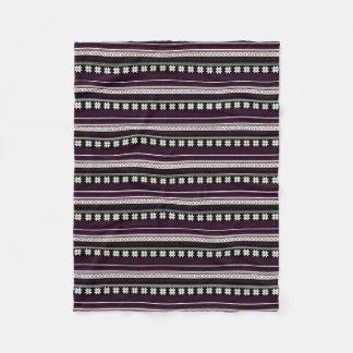 Black & Burgundy Nordic Knit Snowflake Graphic Fleece Blanket
