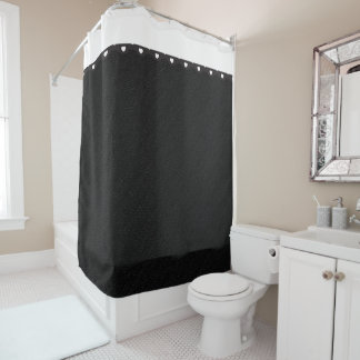 Black Burlap with Tiny White Hearts Shower Curtain