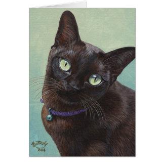 Black Burmese Cat Moose Card