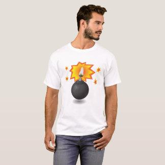 Black Burning Bomb Icon Isolated on White Backgrou T-Shirt