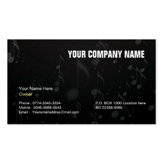 Black business card for music artist,musicians