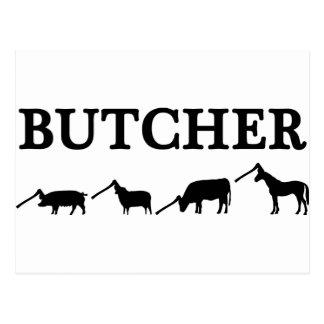 black butcher icon text postcard
