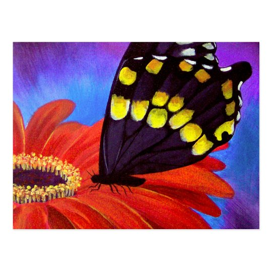 Black Butterfly Daisy Painting - Multi Postcard