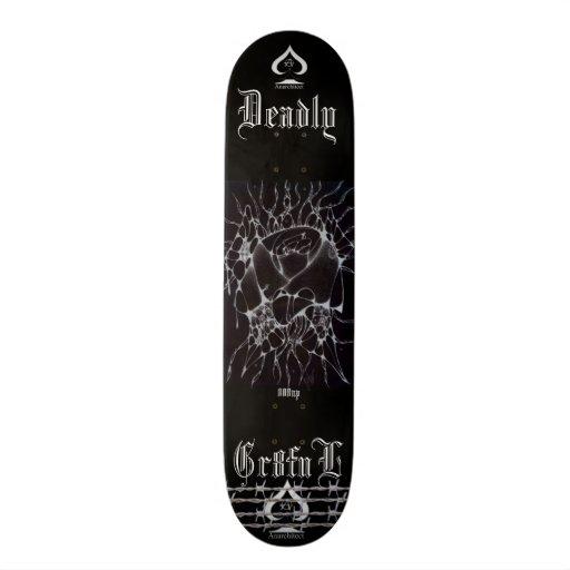 black butterfly flower skate board deck