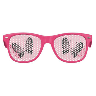Black Butterfly on Pink Kids Sunglasses