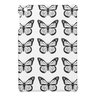 Black Butterfly outlines on White iPad Mini Cases