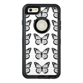 Black Butterfly outlines on White OtterBox Defender iPhone Case
