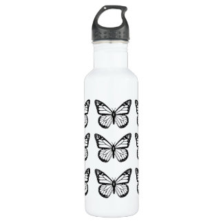 Black Butterfly Stencils 710 Ml Water Bottle