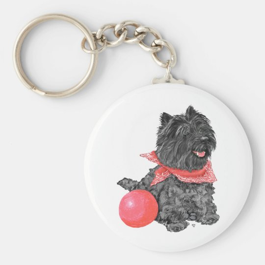 Black Cairn Terrier with Ball Key Ring