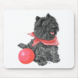 Black Cairn Terrier with Ball Mouse Pad