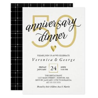 Black Calligraphy Gold Heart Anniversary Dinner Card
