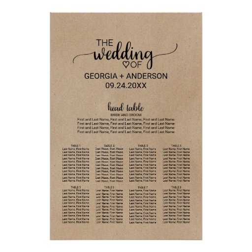 Black Calligraphy Head Table Wedding Seating Chart