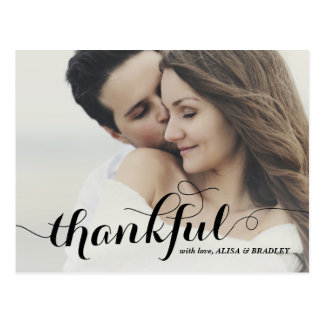 Black Calligraphy Script Thankful Wedding Postcard